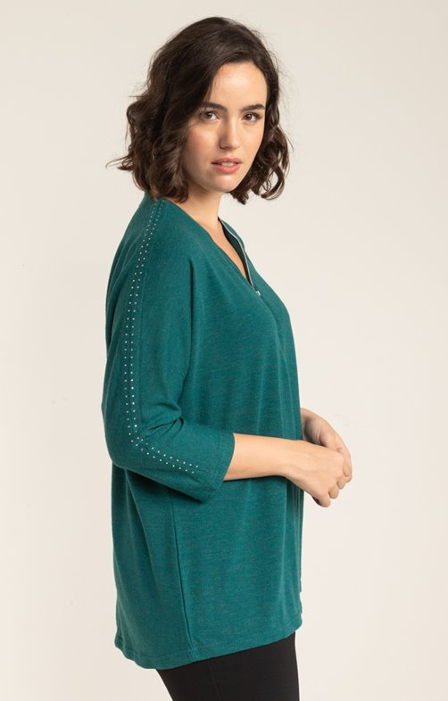 PULL UNI STRASS MANCHES