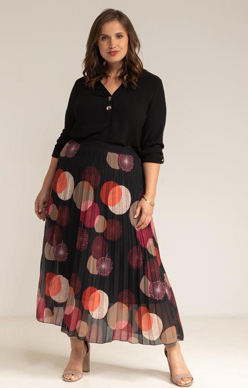 Jupe plissée noire avec imprimé ronds