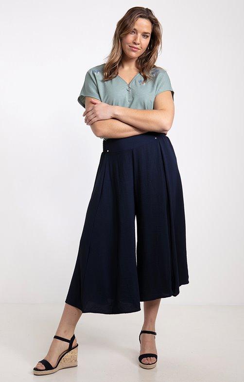 Jupe culotte, taille smocké très large