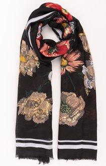Foulard fleurs fond noir