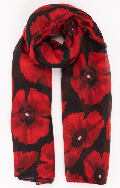 Foulard fond noir fleur rouge