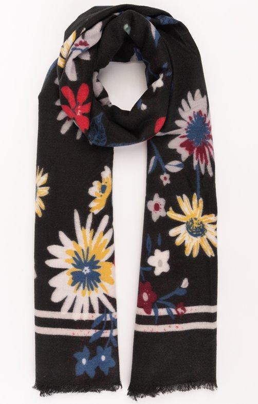 Echarpe douce fond noir imprimé fleurs