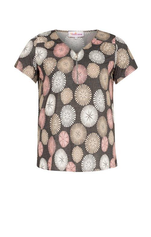 Tee-shirt imprimé avec ZIP au col