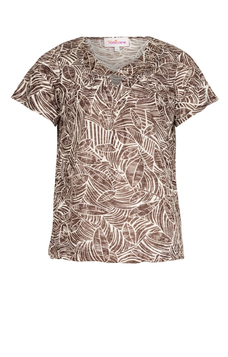 Tee-shirt imprimé avec col torsade