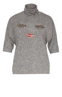 Tee-shirt col roulé motif yeux et bouche