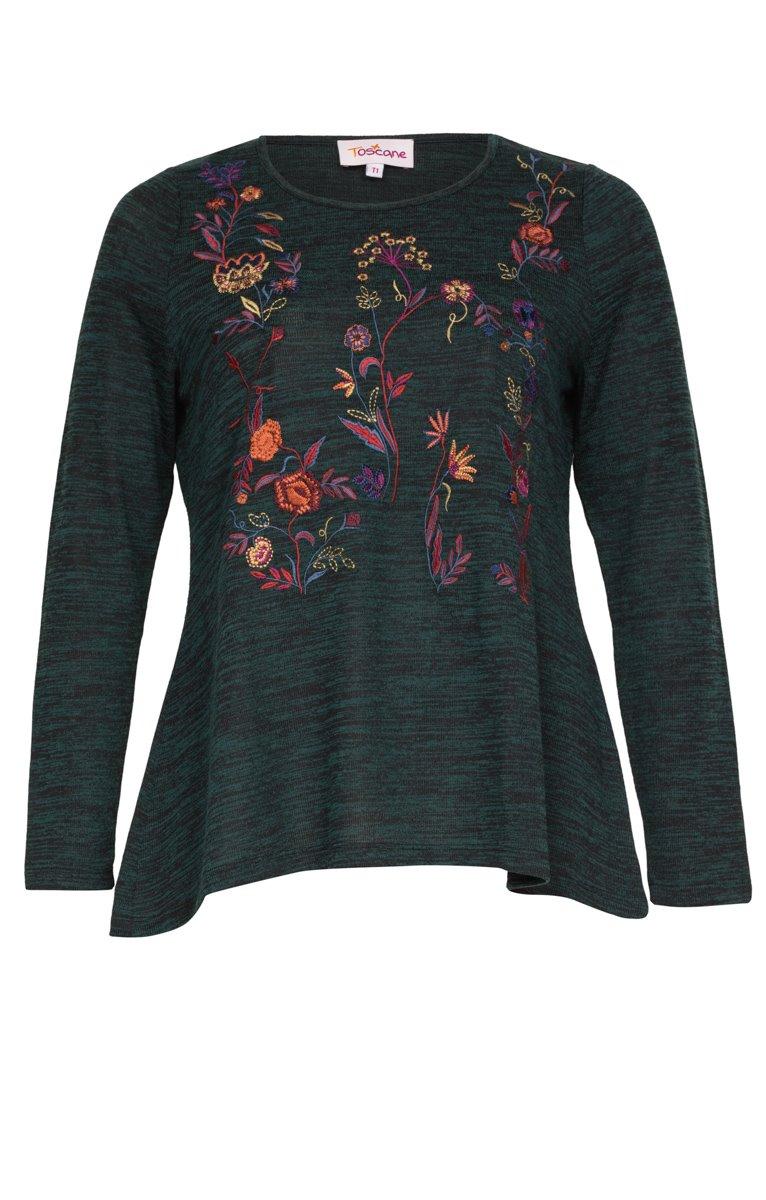 Tee-shirt chiné avec broderie fleurs