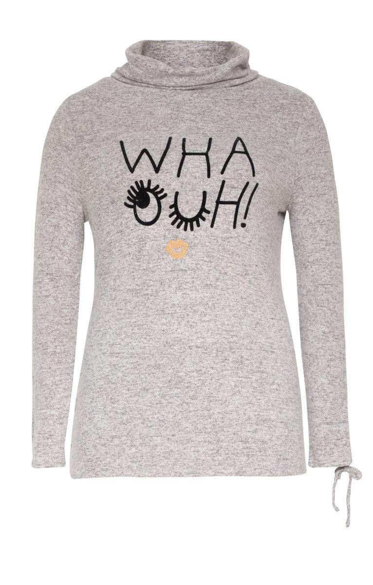 Tee-shirt col montant avec écriture