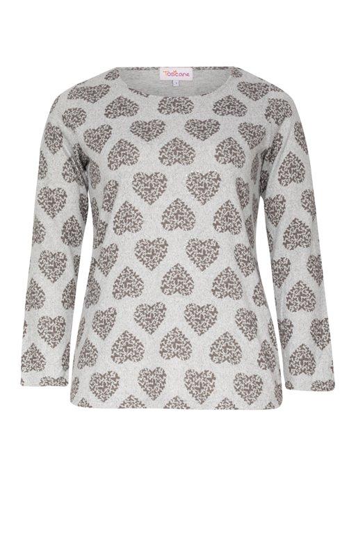 Tee-shirt chiné avec imprimé coeurs
