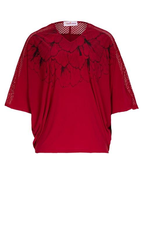 Tee-shirt uni avec dessin et dentelle