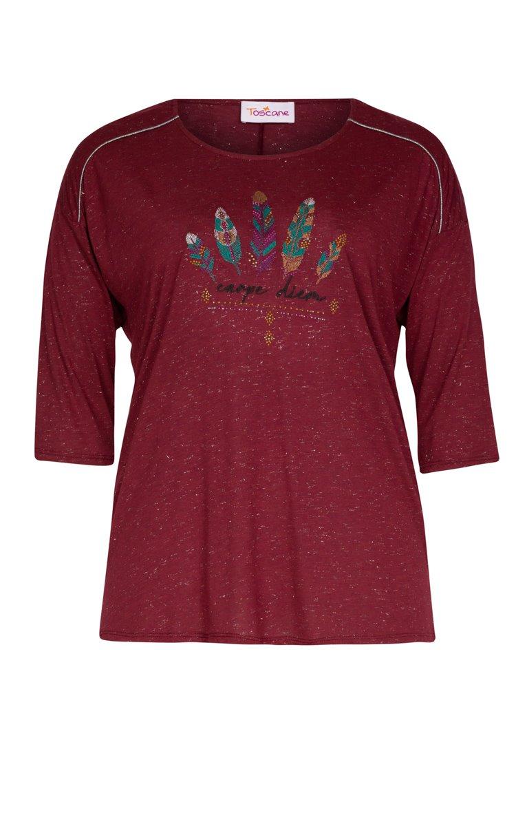Tee-shirt avec plumes en broderie