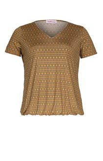 Tee-shirt col V bas élastiqué