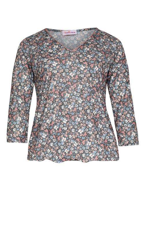 Tee-shirt imprimé fleurs avec col V