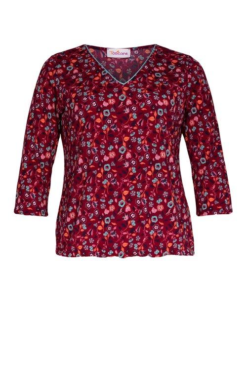 Tee-shirt col V imprimé fleurs