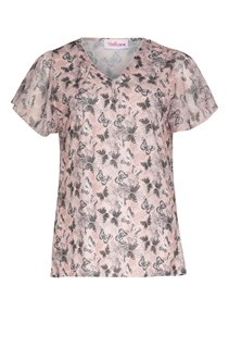 Tee-shirt imprimé papillons col V