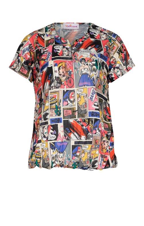 Tee-shirt imprimé avec boutons au col