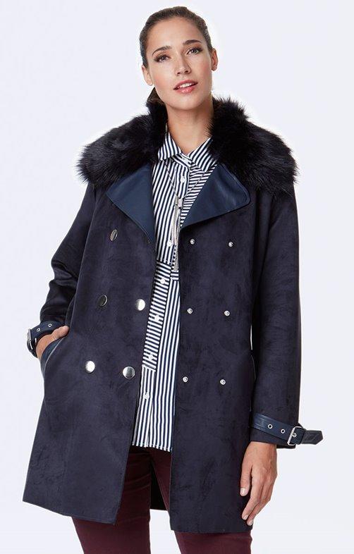 Manteau bi-matière et fausse fourrure