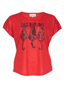 Tee-shirt avec motif chat et strass