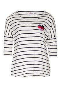 Tee-shirt à rayures avec coeur brodé