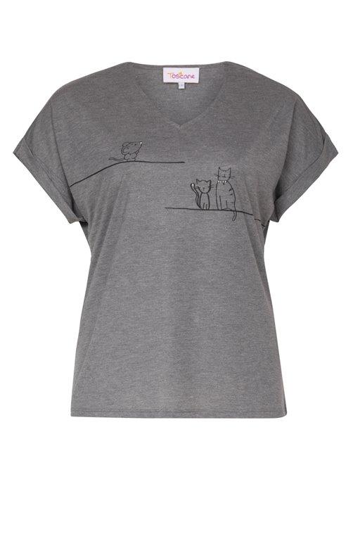 Tee-shirt chiné avec motifs chat