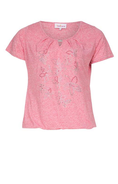 Tee-shirt avec strass et bijou au col