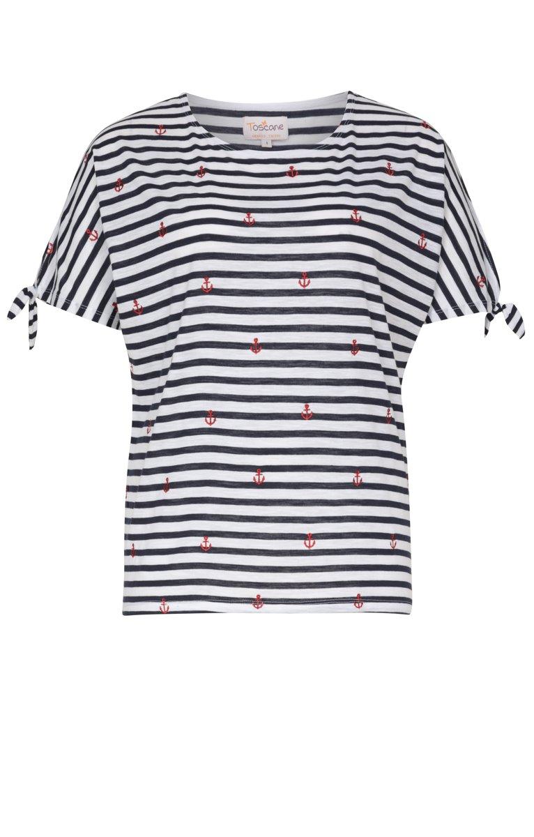 Tee-shirt rayé avec ancres rouges