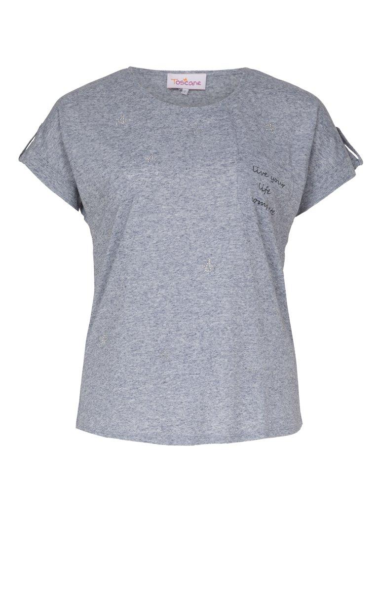 Tee-shirt avec poche, écriture et strass