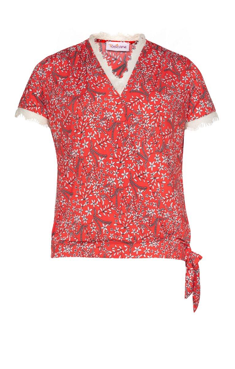 Tee-shirt imprimée et dentelle au col