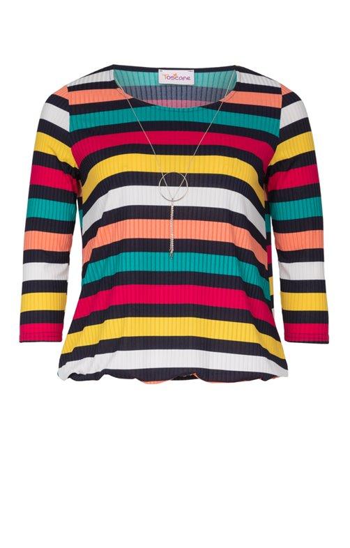 Tee-shirt rayé multicolore avec bijou