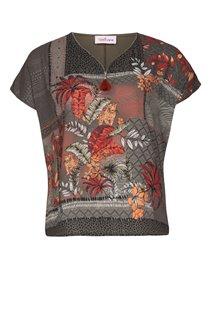 Tee-shirt imprimé avec ZIP et strass