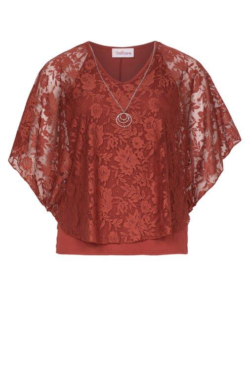 Tee-shirt uni en dentelle avec collier