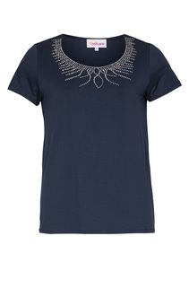 Tee-shirt avec strass au col