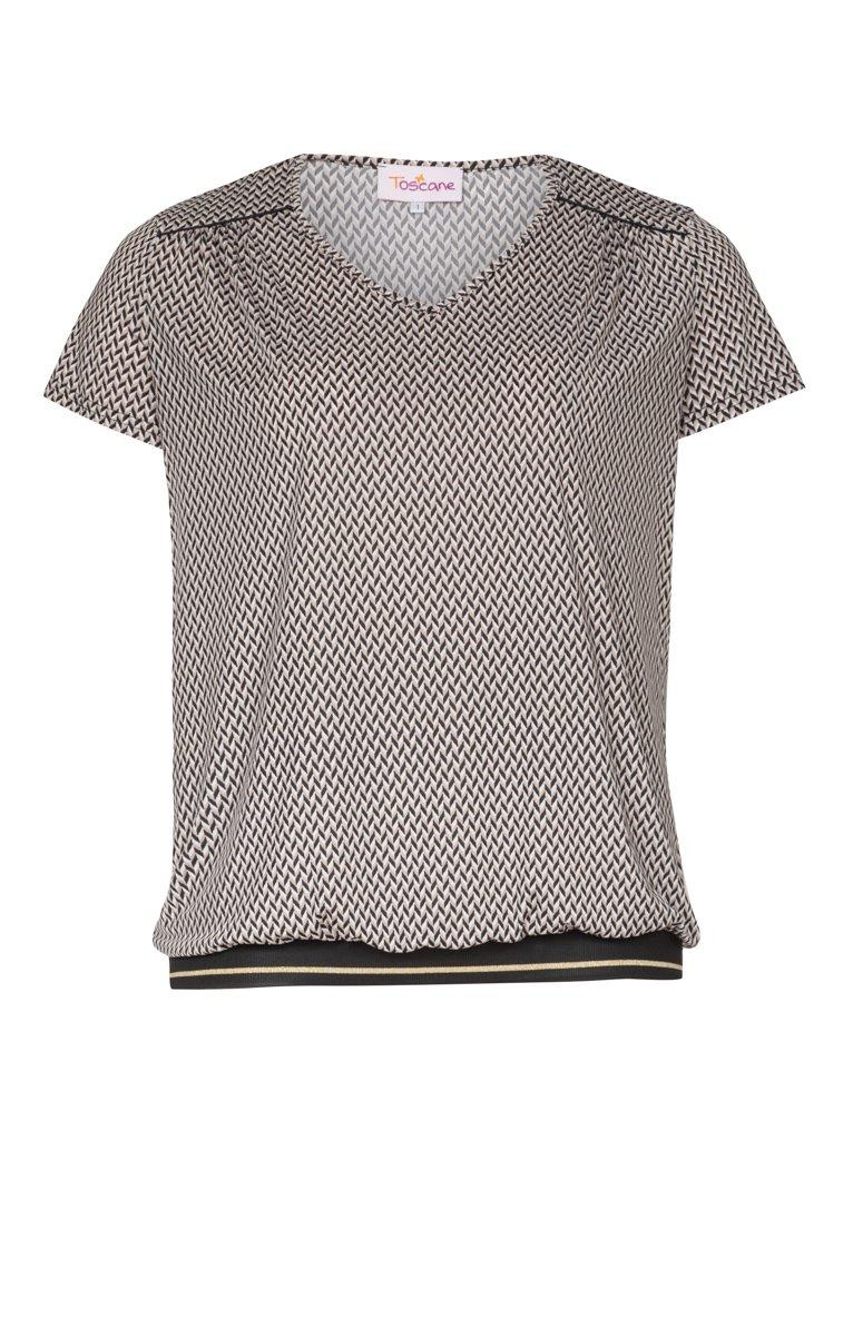 Tee-shirt imprimé avec bord côte col V