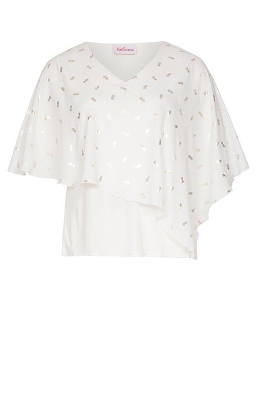 Tee-shirt avec cape en voile imprimé