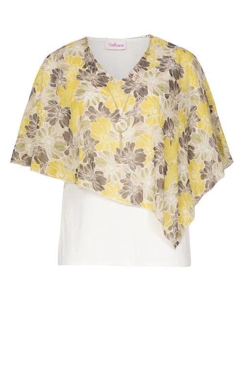 Tee-shirt avec cape en voile imprimée
