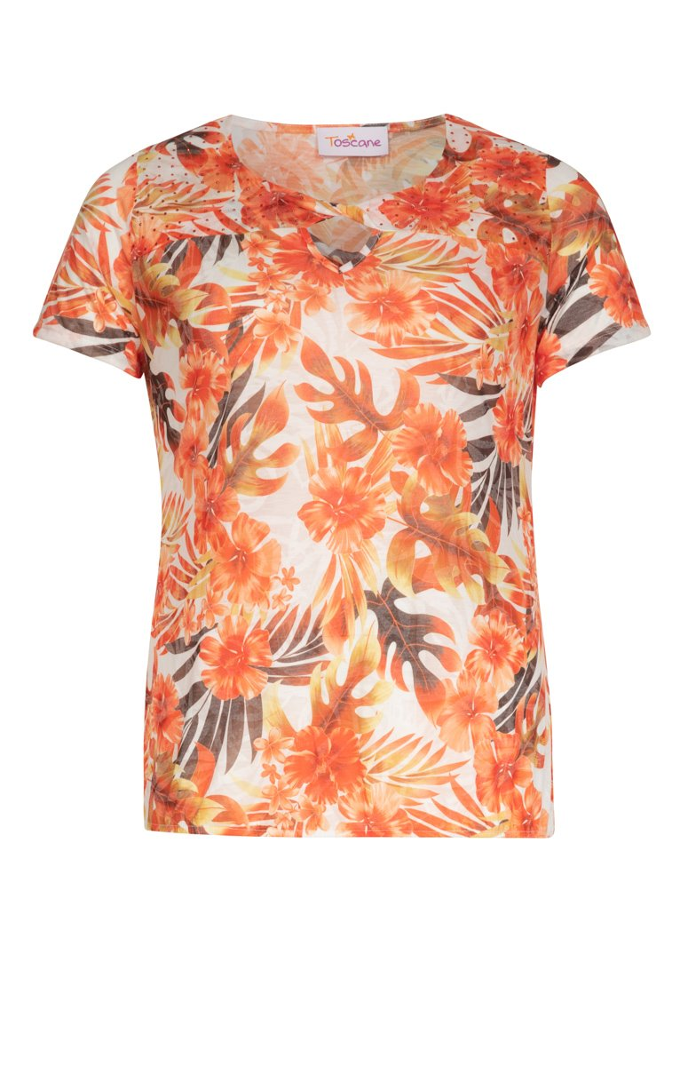 Tee-shirt fleuri avec strass au col