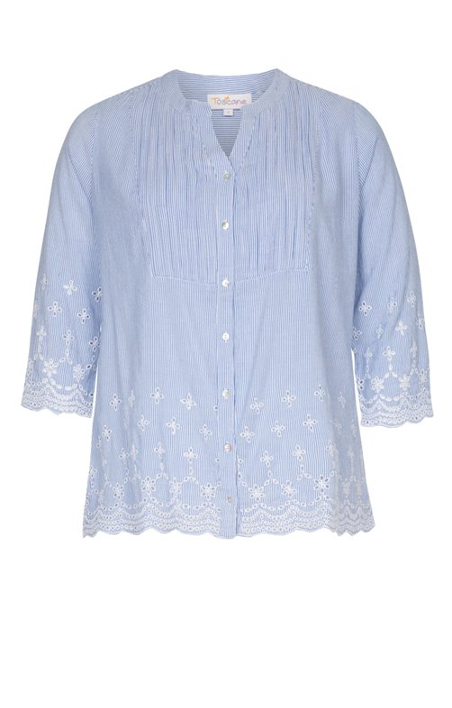 BLOUSE RAYEE COL TUNISIEN AVEC BRODERIE