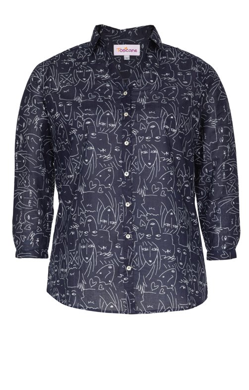 CHEMISE IMPRIMEE ALL OVER, COL CHEMISE