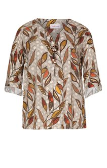 BLOUSE IMPRIMEE ALL OVER, COL V ZIPPE