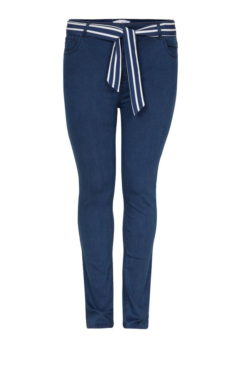 Pantalon denim superstretch et ceinture