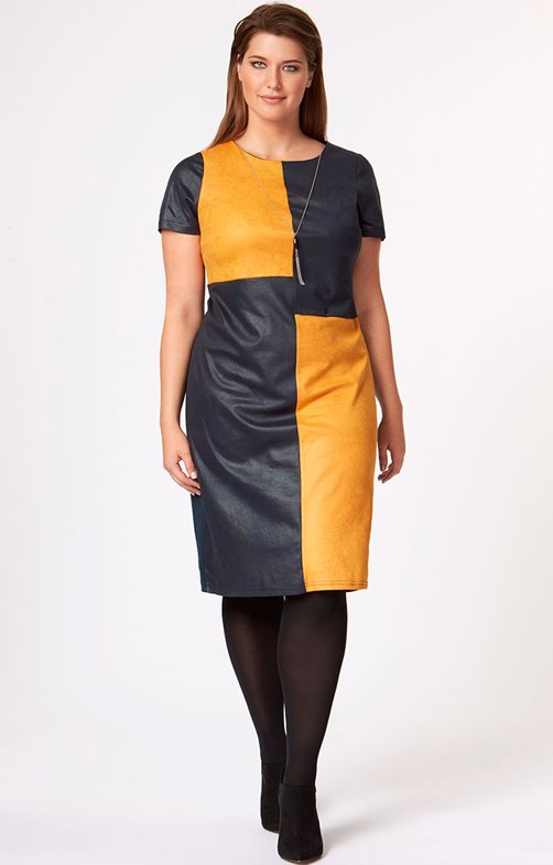 Robe col rond color-block