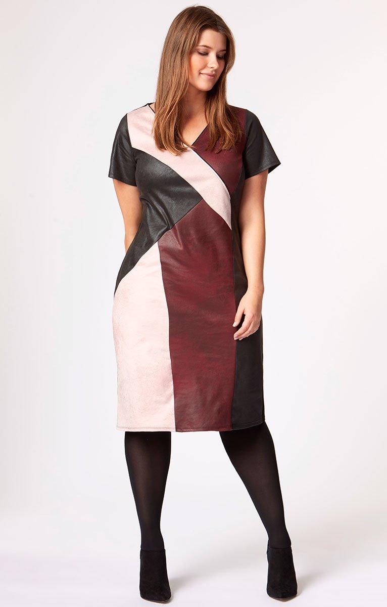 Robe col V color-block