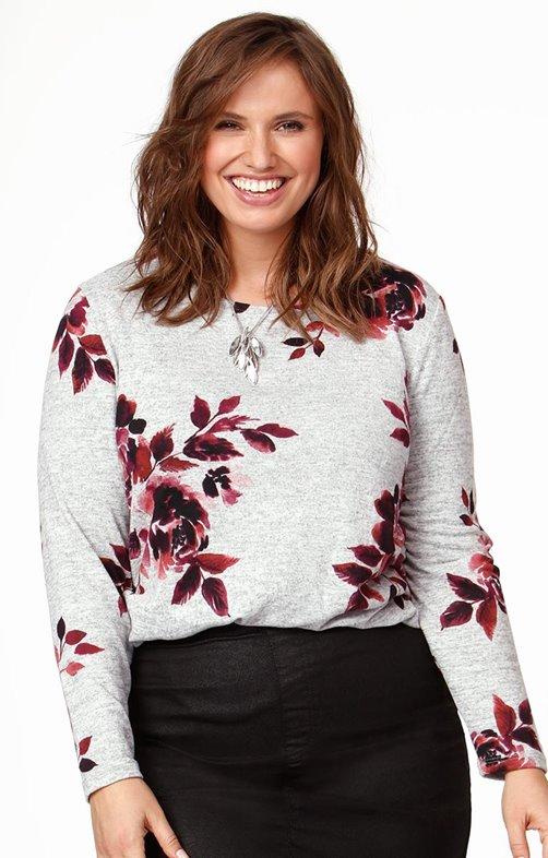 Tee-shirt impression fleurs avec boutons