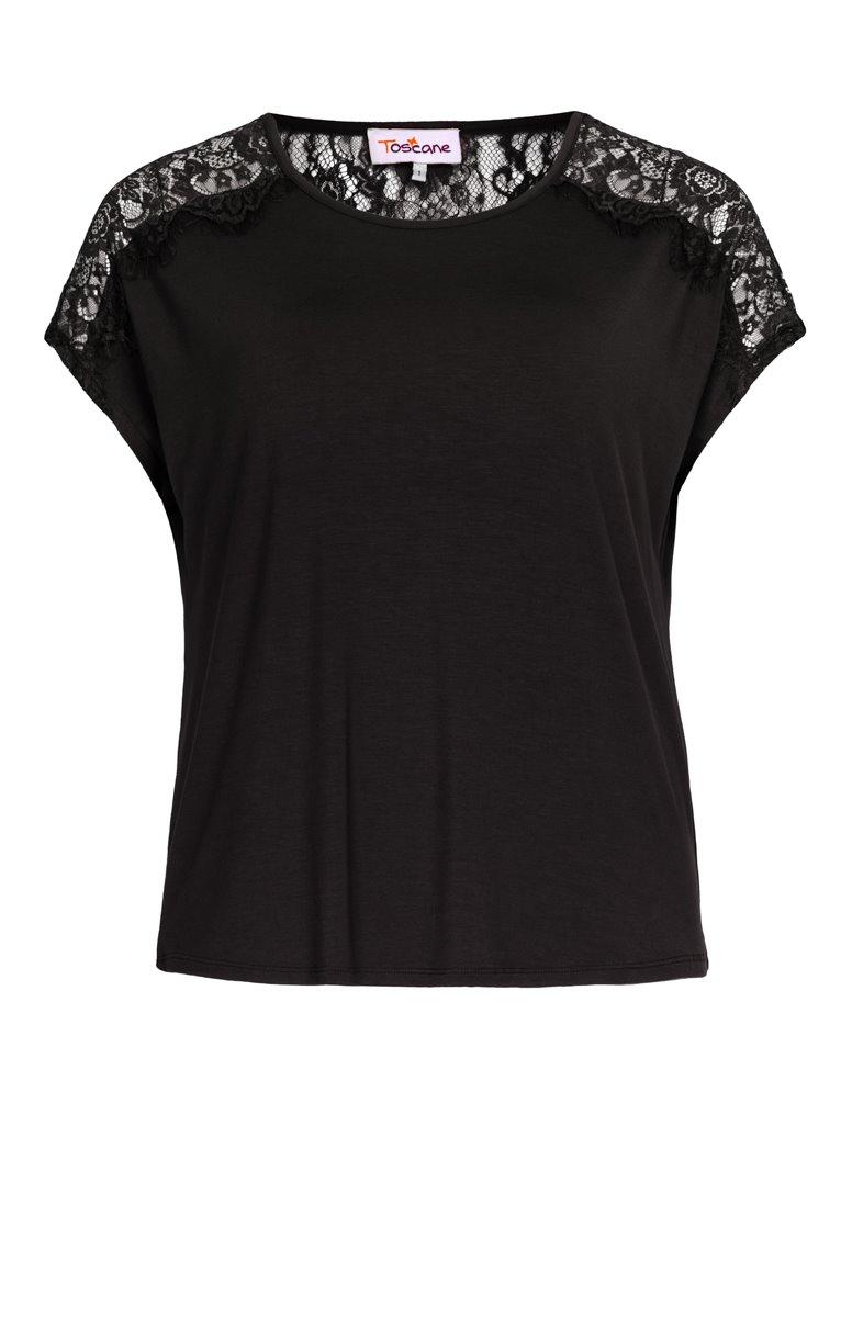 Tee-shirt uni avec dentelle