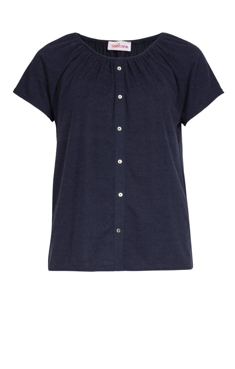 Tee-shirt uni col élastiqué avec boutons