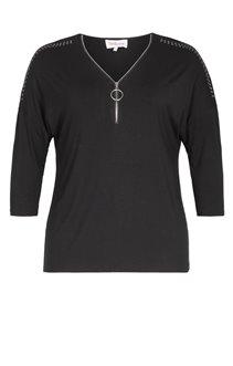Tee-Shirt UNI NOIR STRASS EPAULES
