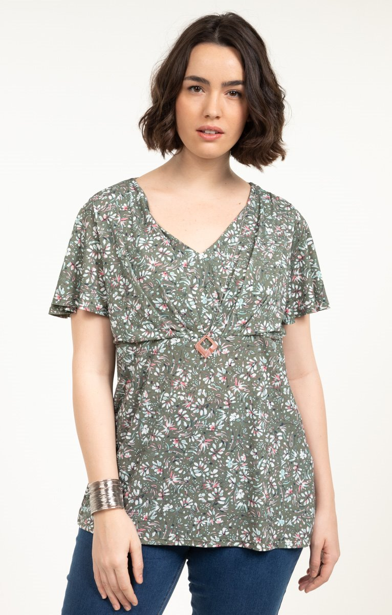tee-shirt KAKI FLEURS ROSES