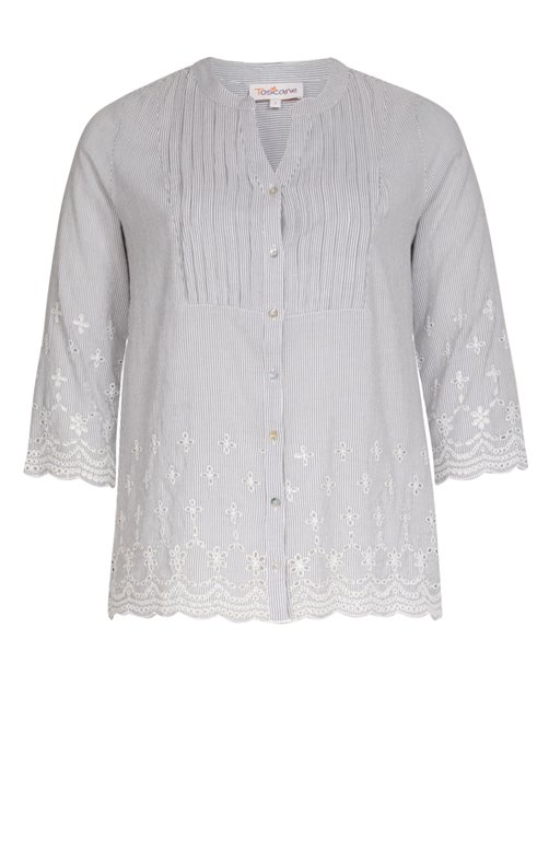 BLOUSE RAYEE COL TUNISIEN AVEC BRODERIES