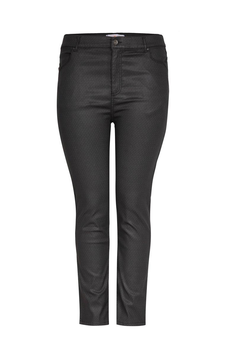 Pantalon droit matière enduite imprimé