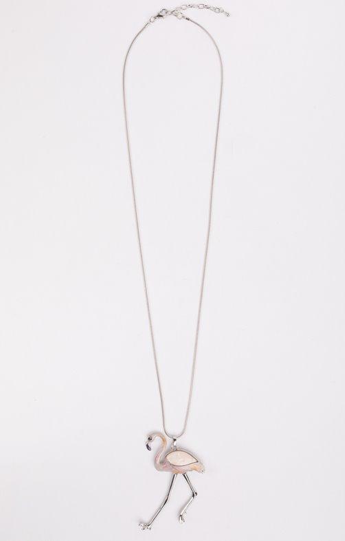 Sautoir métal argent avec flamand rose