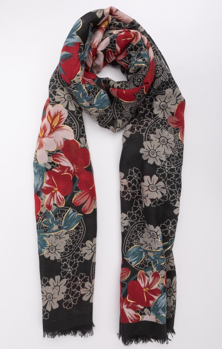 Foulard noir avec fond rosace